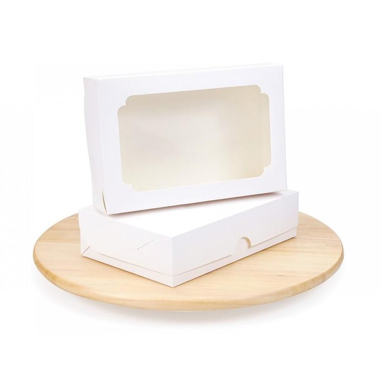 Коробка для еклерів, зефіра, десертів, Біла, 230х150х60 мм