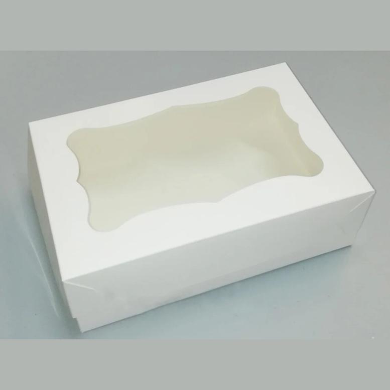Коробка для конд. изделий 330х255х110 белая с окном, мел/к.