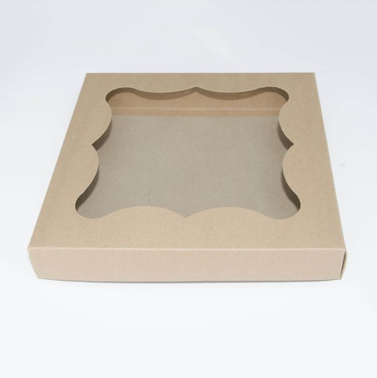 Коробка для пряников 200х200х30 крафт с окном,  мел/к.