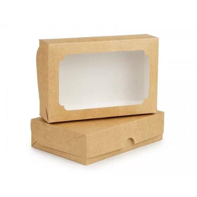 Коробка для еклерів, зефіра, десертів, Крафт, 230х150х60 мм