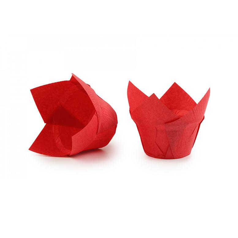 Паперова форма для кексів ЛОТОС червона, 1шт