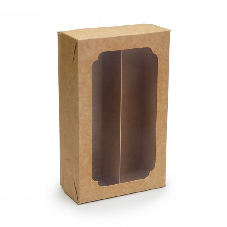 Коробка для макаронс двойная с окном и разделителем Крафт 200х120х60 мм