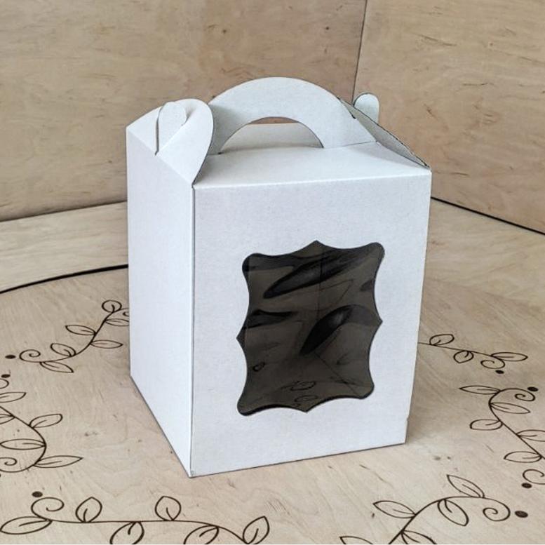 Коробка для паски 170х170х210 белая с окном, м/г.