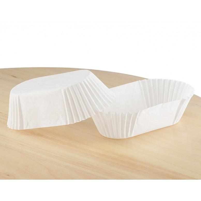 Паперова форма для тістечок та еклерів 80х35 мм, h 30 мм, біла, 14шт/уп
