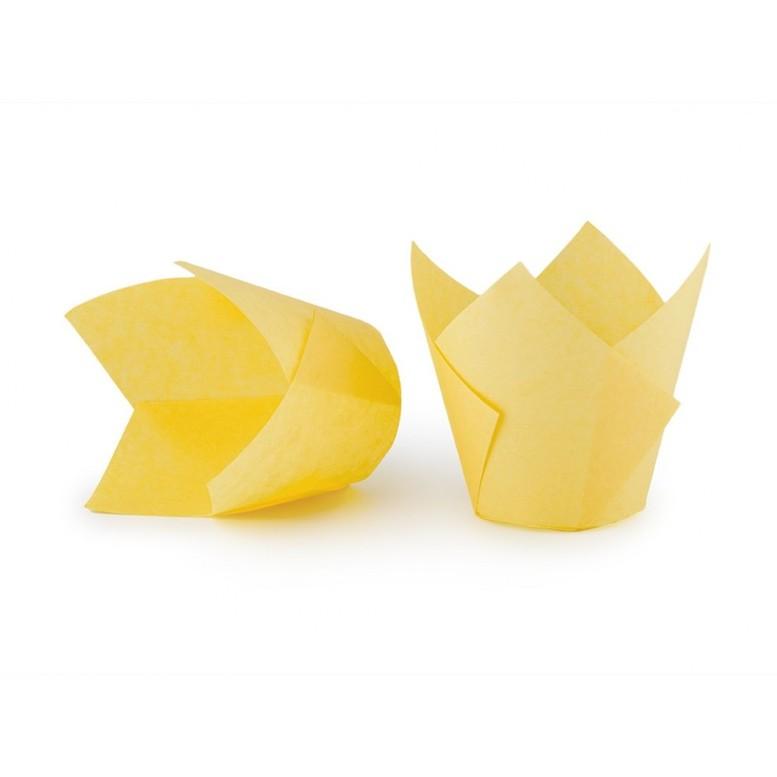 Паперова форма для кексів ТЮЛЬПАН жовта, 1шт