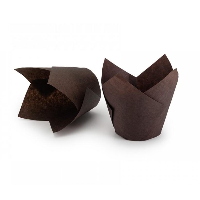 Паперова форма для кексів ТЮЛЬПАН коричнева, 1шт