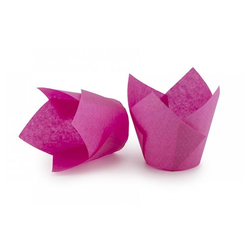 Паперова форма для кексів ТЮЛЬПАН рожева, 1шт