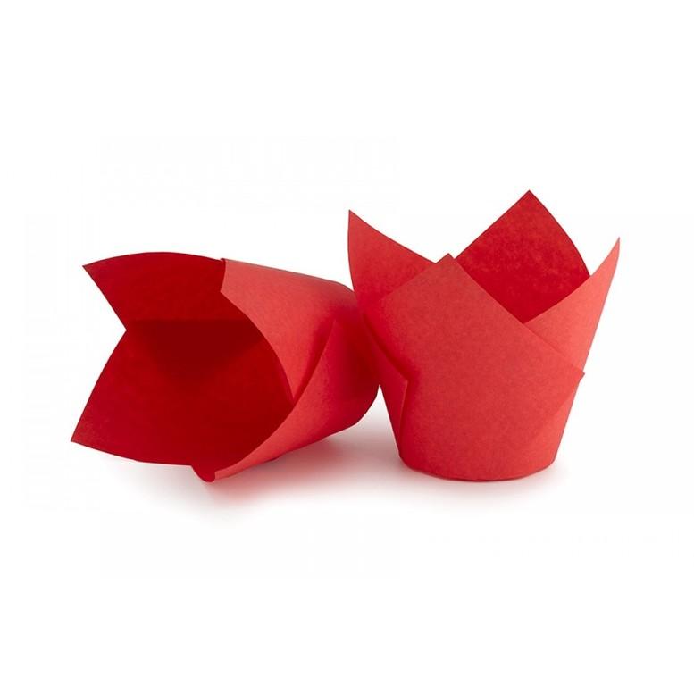 Паперова форма для кексів ТЮЛЬПАН червона, 1шт