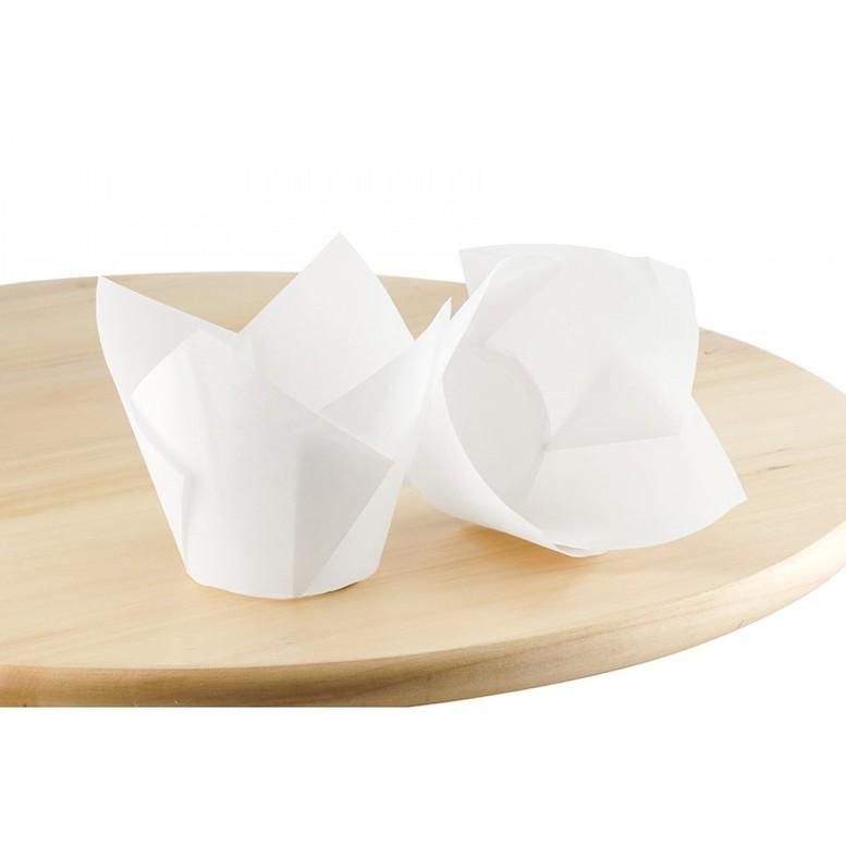 Паперова форма для кексів ТЮЛЬПАН біла, 1шт