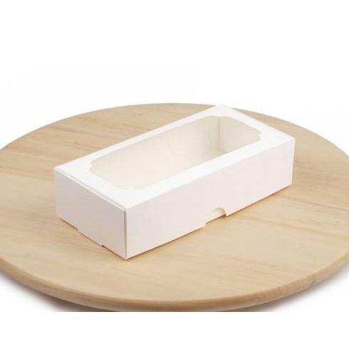 Коробка для макаронс, зефіра і десертів, Біла, 200х100х50 мм