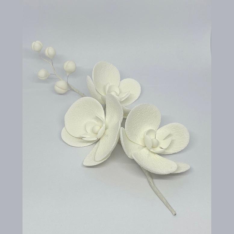 Цукрова прикраса Гілочка орхідеї біла