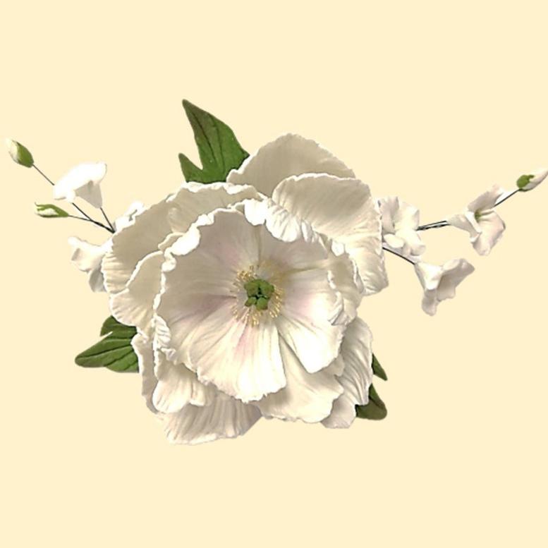 Цукрова прикраса Букет піона з дзвониками Білий