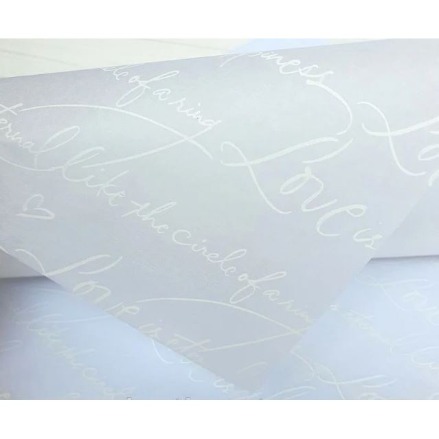 Бумага Тишью 50х70см Письмо (Белый Текст)