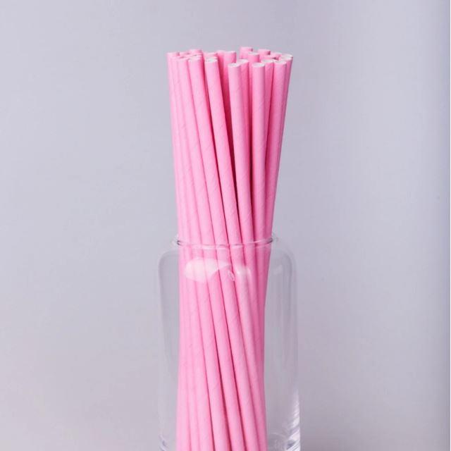 Паперовітрубочкидлякейк-попсів200мм Рожеві, 25 шт/уп