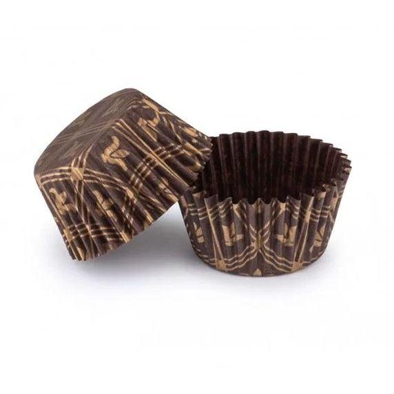 Паперова форма для цукерок 30х24 Коричнева з принтом, 20 шт/уп