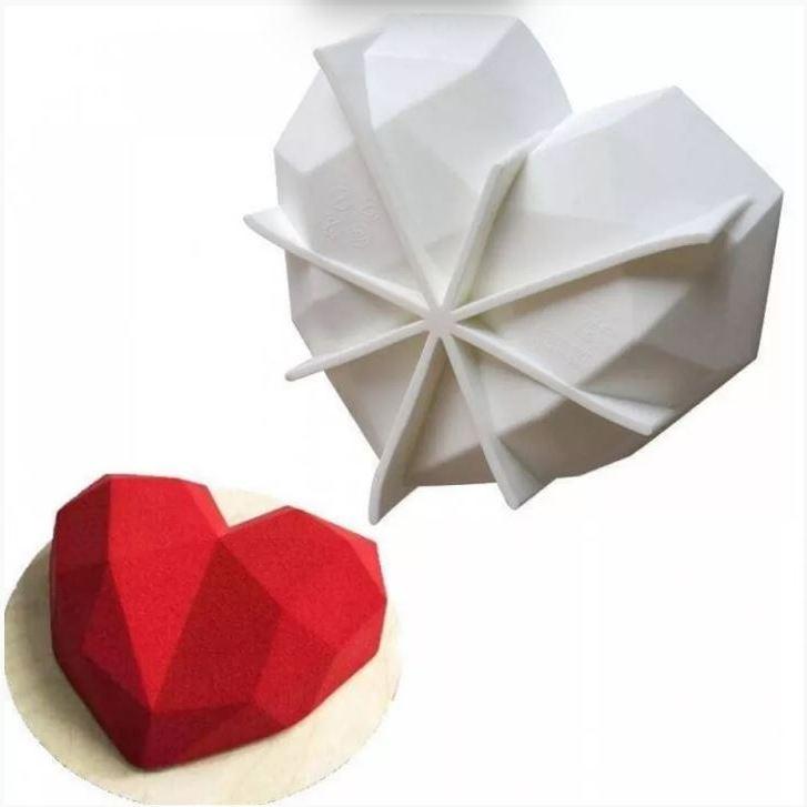 Силиконовая форма для евродесерта Сердце граненое