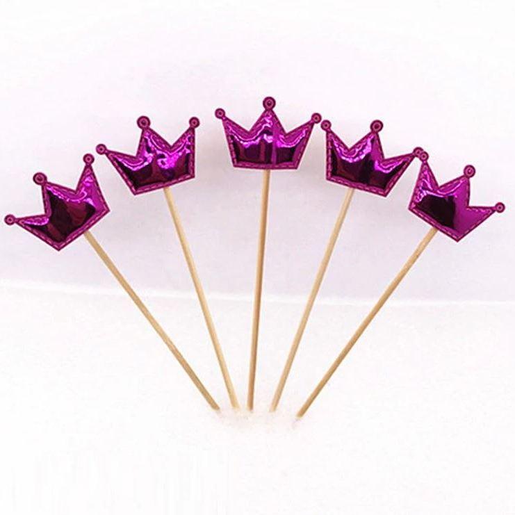 Топперы для капкейков Короны Розовые, набор 5 шт