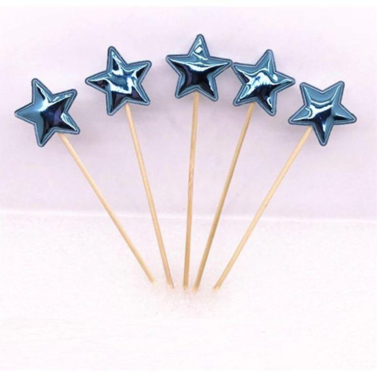 Топперы для капкейков Звезды Голубые, набор 5 шт