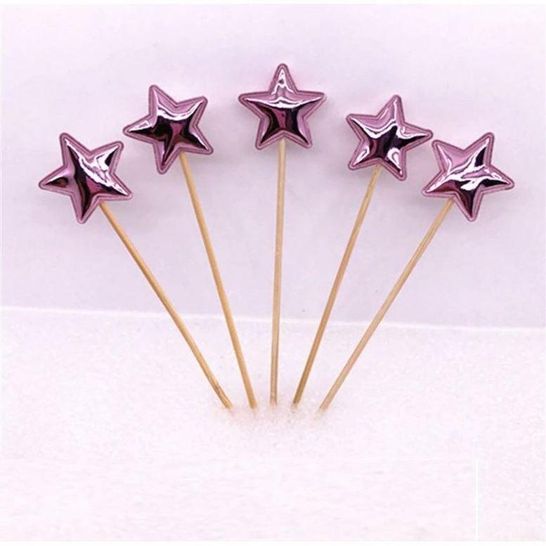 Топперы для капкейков Звезды Светло-розовые, набор 5 шт