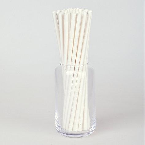 Паперовітрубочкидлякейк-попсів200мм Білі, 25 шт/уп