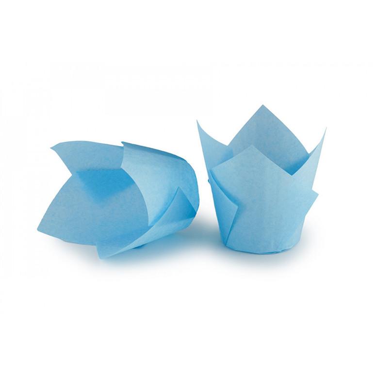 Паперова форма для кексів ТЮЛЬПАН блакитна, 1шт