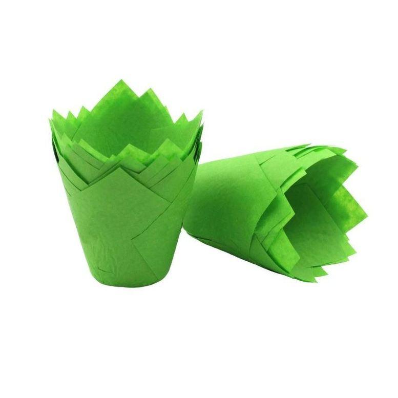 Паперова форма для кексів ТЮЛЬПАН зелена, 1шт