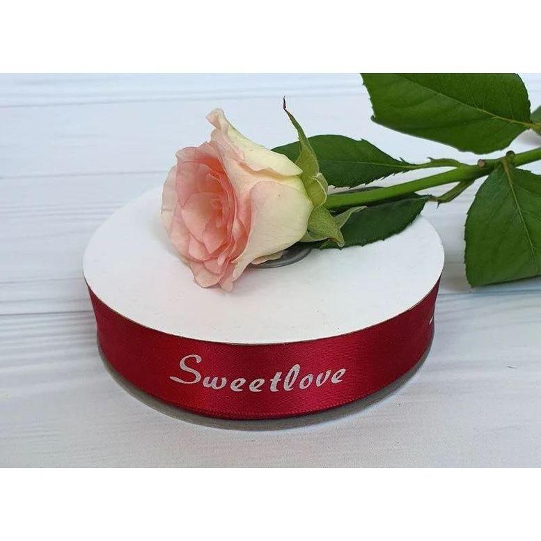 """Лента атласная 2,5 см/45,72м """"Sweet Love"""" Бордо"""