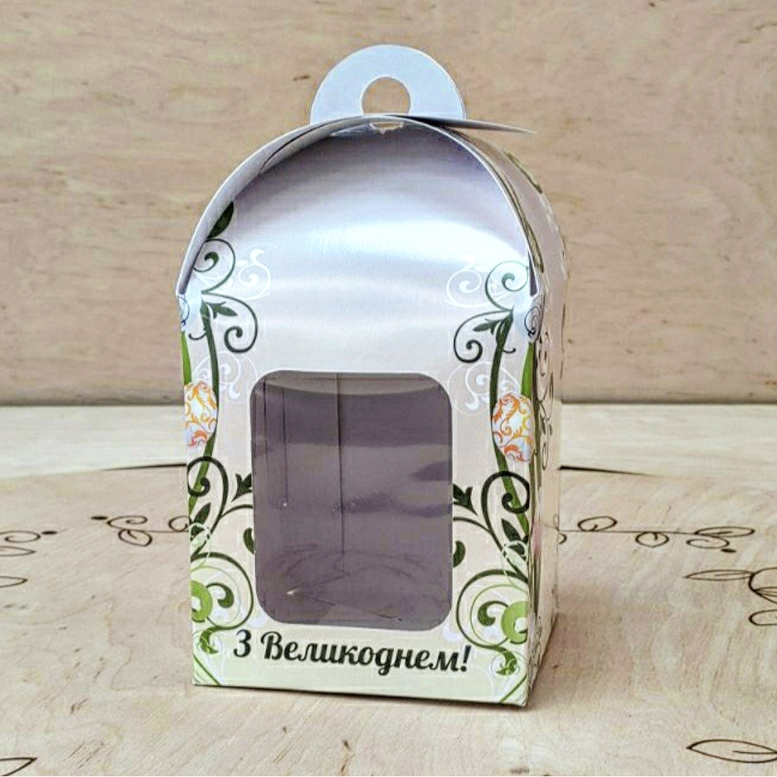 Коробка для паски 120х120х150 белая/принт, с окном (мел.к)
