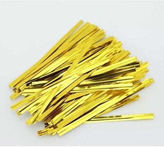 Дротяні зав'язки для пакетів Золоті 10см, 100 шт/уп