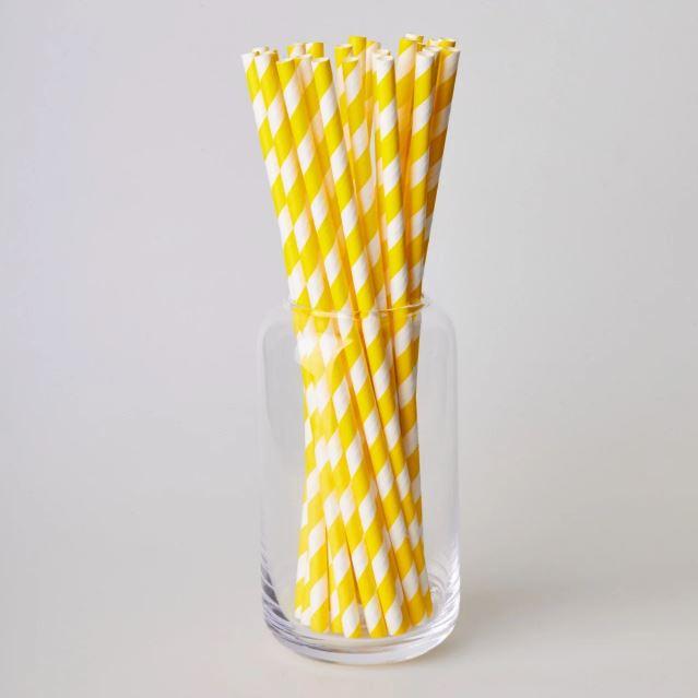 Паперовітрубочкидлякейк-попсів200мм Жовта смужка, 25 шт/уп